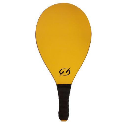 Yellow frescobol racquet with black handle - RAQUETE BASICA AMARELO