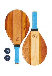Frescobol paddles in wood with blue neoprene grip - TRANCOSO BEACH BAT BLUE