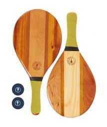 Frescobol bats wood and yellow neoprene - TRANCOSO BEACH BAT YELLOW