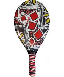 Red and black printed frescobol paddle - RAQUETE FIBRA ESTAMPADA CP10N