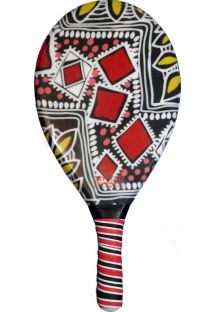 Red and black printed frescobol paddle - RAQUETE FIBRA ESTAMPADA CP10N