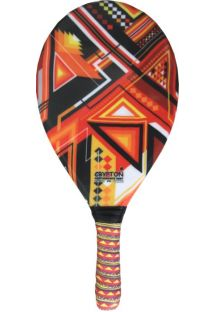 Orange geometric print frescobol paddle - RAQUETE FIBRA ESTAMPADA CP15D