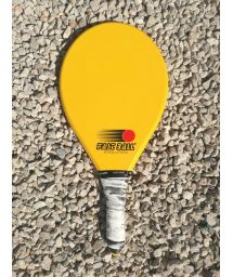 Yellow frescobol racket in red Evolution series - RAQUETE AMARELA