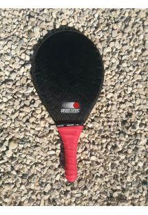 黒とピンクのカーボンフィバーフラスコボールラケット - RAQUETE AREIA PRETA