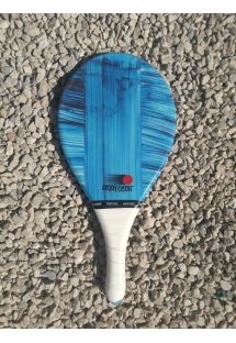 青いファイバーライン柄入りフラスコボールラケット - RAQUETE AZUL