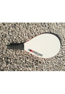 White frescobol racket Power series in wood - RAQUETE BRANCA