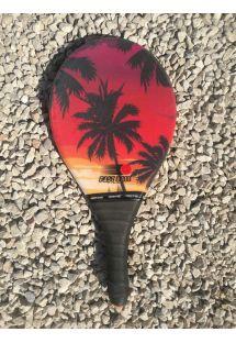 サンセットとヤシの木柄フラスコボールラケット - RAQUETE PRAIA BONITA