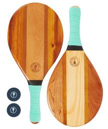 Hellgrüne Frescobol-Rackets aus Holz/Neopren - TRANCOSO-BEACH BAT SET PASTEL GREEN