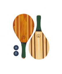 Frescobol wooden rackets with dark green neoprene - LEBLON BEACH BAT GREEN