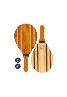 Frescobol wooden rackets with orange neoprene - LEBLON BEACH BAT ORANGE