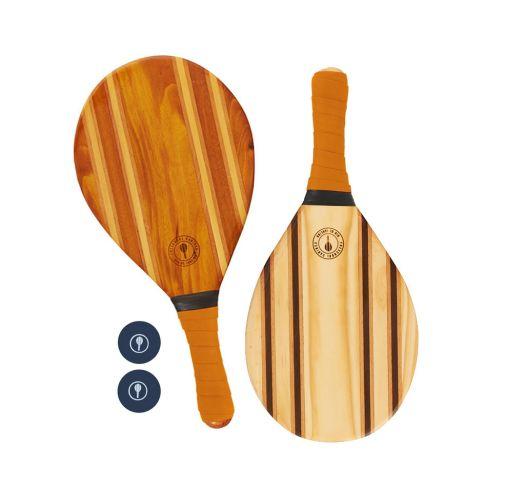 Frescobol wooden rackets with orange neoprene - LEBLON BEACH BAT ORANGE
