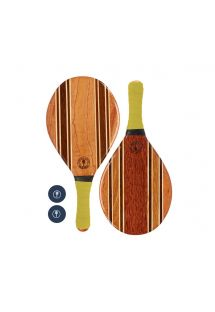 Frescobol wooden rackets with yellow neoprene - LEBLON BEACH BAT YELLOW