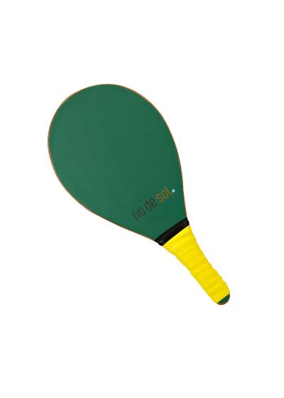 Green pro frescobol bat with yellow grip - BEACH BAT RDS BRASIL