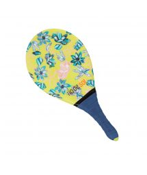 Yellow pro frescobol bat with floral pattern and navy grip - BEACH BAT RDS FLORESCER