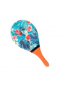 Pro frescobol bat with floral pattern and orange grip - BEACH BAT RDS ISLA