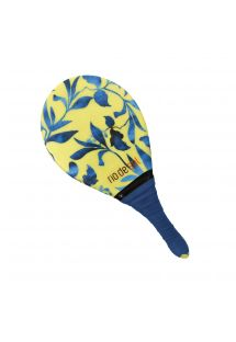 Pro frescobol bat with plant pattern and navy grip - BEACH BAT RDS LEMON FLOWER
