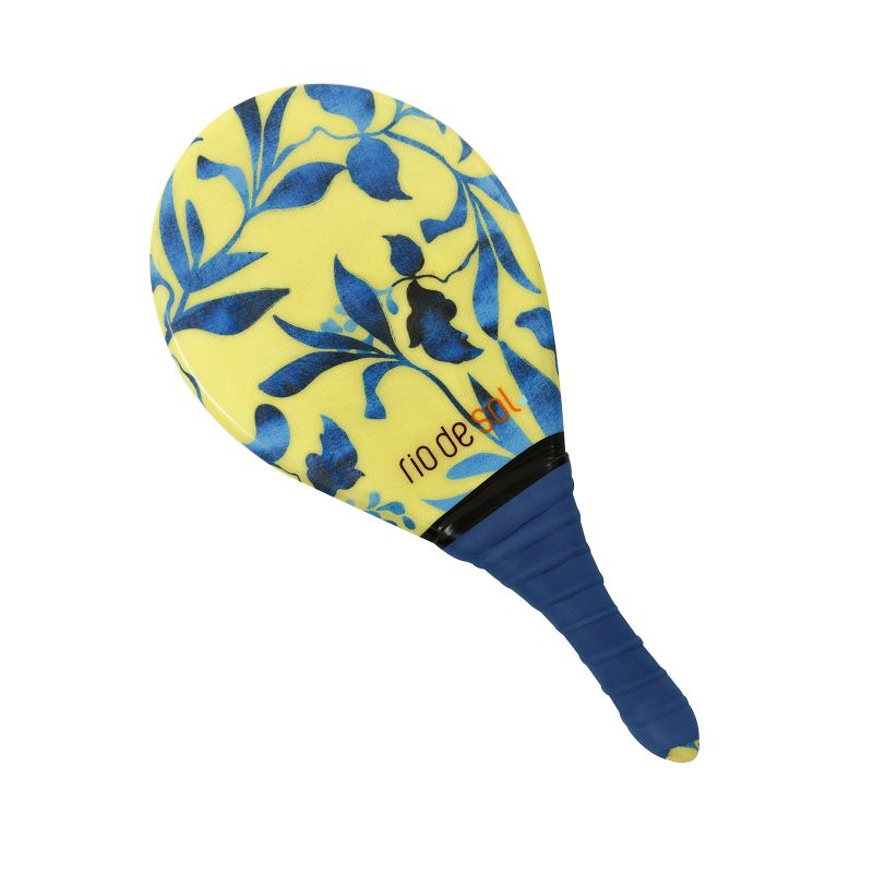 Pro frescobol bat with plant pattern and navy grip - BEACH BAT RDS LEMON FLOWER