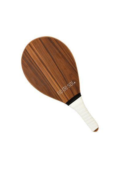 Wooden pro frescobol bat with white grip - BEACH BAT RDS MADEIRA BRANCO
