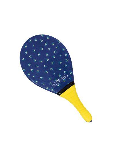Blue pro frescobol bat with bird pattern with yellow grip - BEACH BAT RDS SEABIRD