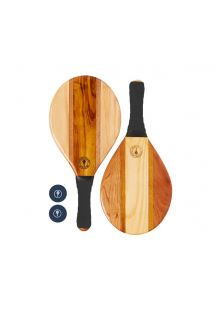 Black neoprene wooden frescobol rackets - TRANCOSO BEACH BAT BLACK