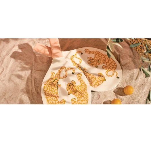 Leopard pattern beach rackets x2 + cover - BEACH BATS CALL OF THE WILD - PEACHY PINK
