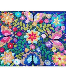 Farbenfroh bestickter Kissenbezug 40x35cm - Bordado tropical azul
