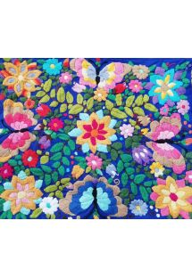 Muliticolored embroidered pillow case 45x35cm - Bordado tropical azul