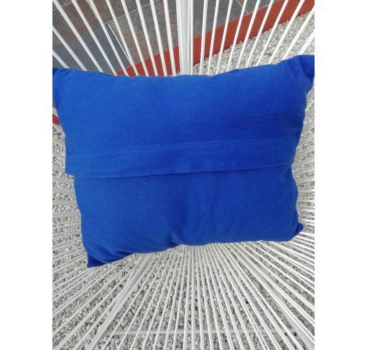 Housse de coussin bleue brodée 40X35 - Bordado tropical azul