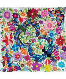 Farbenfroh bestickter Kissenbezug 45x45cm - BORDADO TROPICAL BRANCO