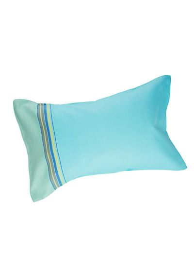 Inflatable beach pillow - sky blue and colorful stripes - RELAX BLUE LAGOON