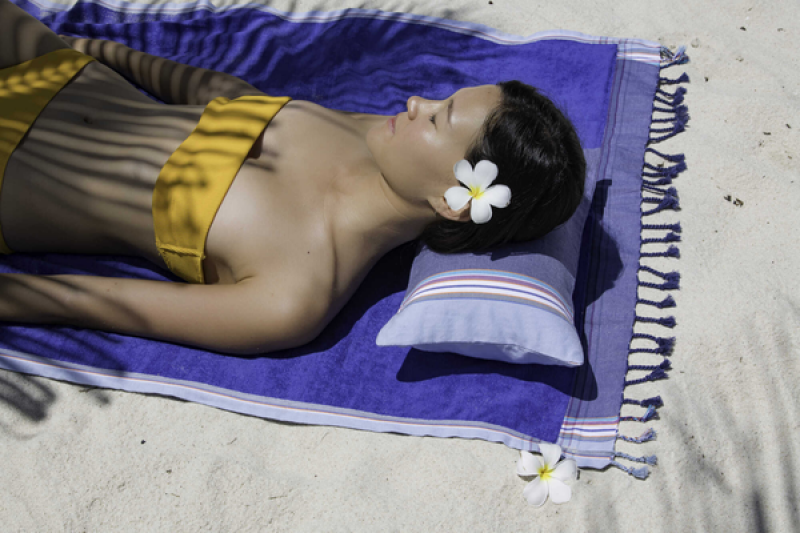 Inflatable beach cushion in gray shaded cover - RELAX HENDAYE
