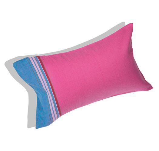Almofada de praia insuflável e fronha azul/rosa - RELAX HIBISCUS