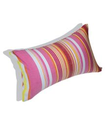 Pink striped inflatable beach cushion with cover - RELAX JAMBO