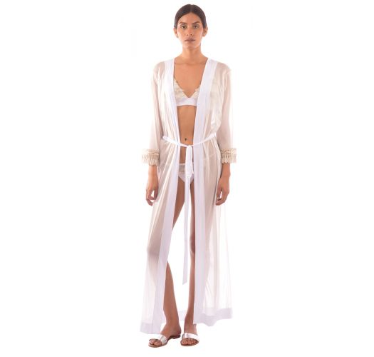 Luxurious long white kaftan with fringed sleeves - LONG TUNIC JUNGLA NATURAL