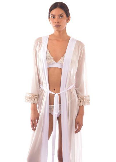 Luxurious long white kaftan with fringed sleeves - LONG TUNIC JUNGLA NATURAL