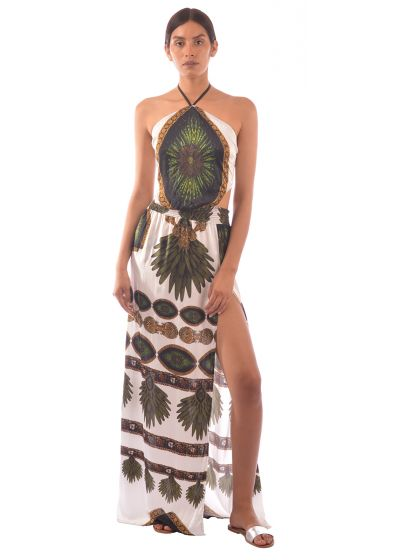 Long ethnic print silk beach dress - SILK DRESS TRIBAL WHITE