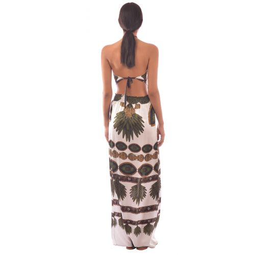 SILK DRESS TRIBAL WHITE