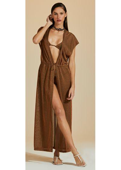 Brown copper long beach dress with lurex - CAPA LUZ-VERDE MUSGO