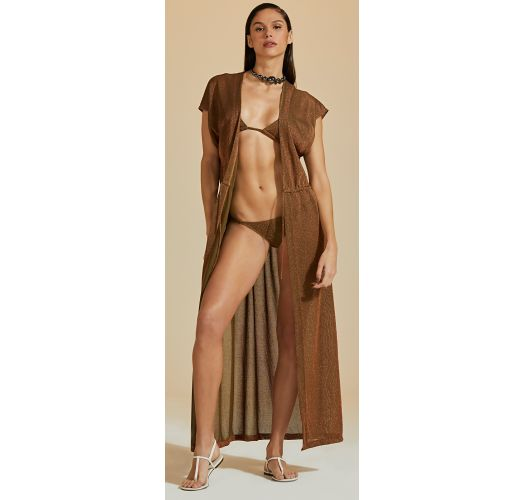 Brown copper long beach dress with lurex - CAPA LUZ-VERDE MUSGO