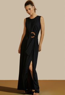 Schwarzes langes Luxus-Kleid mit Lederring - VESTIDO LONGO CRUZEIRO