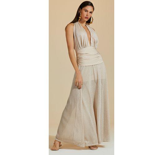 Luxus-Kleid in Nude mit silbernem Lurex - VESTIDO LONGO LUZ
