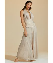 Luxurious long dress with deep neckline in nude and silver lurex - VESTIDO LONGO LUZ