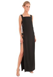 A long luxury black beach dress with openwork sides - LESS LONG