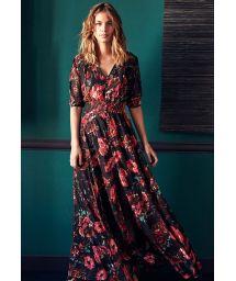 Black floral print button front maxi dress - RAVY BLACK