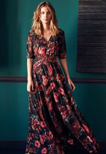 Black floral print button front maxi dress - RAVY BLACK