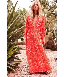 Long red floral beach kaftan dress - REGGAE RED