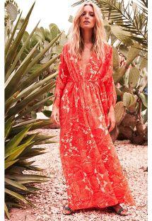 Vestidocaftán floral rojo largo de playa - REGGAE RED