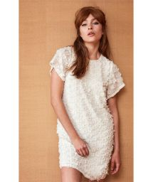 Short white straight dress with 3D flowers - ROBE ROSANNE