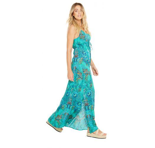 Long blue beach dress - peacock print - ADELINA FANTASTIC