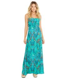 Long blue beach dress - peacock print - ADELINA FANTASTIC